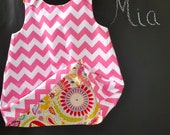 Reversible Swing Top - Dena Fishbein - Chevron - Pick the size Newborn up to 8 Years by Boutique Mia