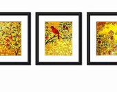 Bird TRIPTYCH Home decor  | mixed media collage art | yellow and red