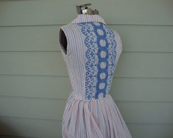 Vintage 1950s Pink and Blue Striped Day Dress with Embroidered Back XS
