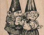 Rubber stamp Married couple  gnome hobbit unMounted  scrapbooking supplies 17682