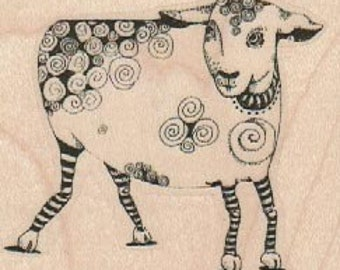 Sheep lamb tangle  Steampunk  Stamp whimsical  Rubber Stamp by Mary Vogel Lozinak  18979 holzstempel