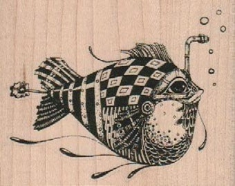 Scuba fish Steampunk Rubber Stamp wood mounted designed by Mary Vogel Lozinak no 18978