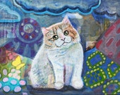Quilt kitty postcard orange and white bicolor cat puffball