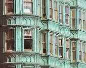 Verdigris - San Francisco Photograph, California, Architecture, Windows, Travel Photography, Mint, Turquoise, Home Decor, Blue Green
