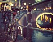 Amsterdam Photography, Bicycle Art, Blue Black Night, Bridge Lights, Fine Art Photography, Urban Art, City Europe - Going Dutch