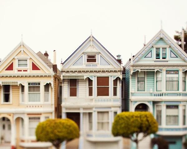 Pastel houses san francisco art painted ladies victorian for San francisco victorian houses