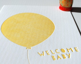 Balloon, welcome baby yellow, letterpress card