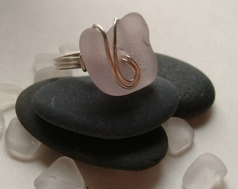 LAVENDER PURPLE Genuine Sea Glass Wire Wrapped Ring by Lake Erie Beach Glass LEbg Size 6 3/4