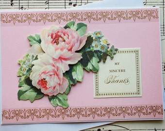 3D Thank You Card, Blank Thank You Greeting Card, Rose Card, Floral Card, Thanks Card, Handmade Thank You Card