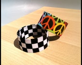 Peace Sign and Checkered Slap Bracelets-Set of 2