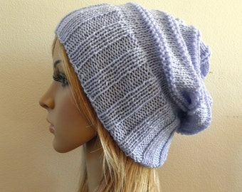 Hand knit slouchy hat wide band in light pale blue luxury soft australian wool - choose your colour handknitted slouch women men unisex