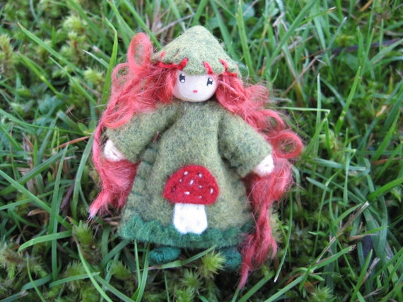 Bendy Doll Mushroom Girl Pixie Waldorf Style