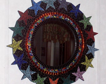 Stained Glass Mosaic Art Mirror-Multicolored Stars