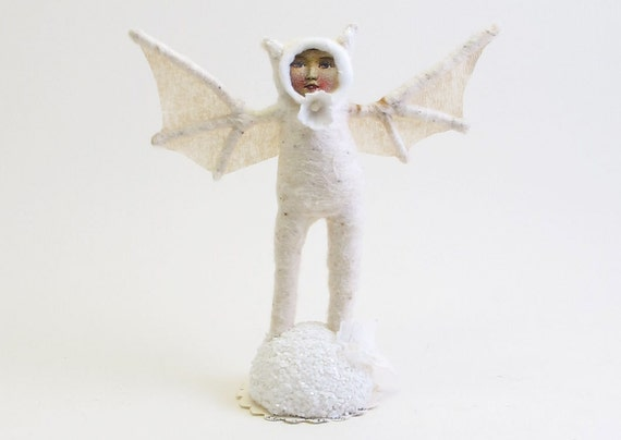 Spun Cotton Vintage Style White Bat Girl Figure