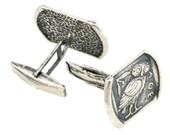 Goddess Athena's Wise Little Owl - Sterling Silver Cufflinks