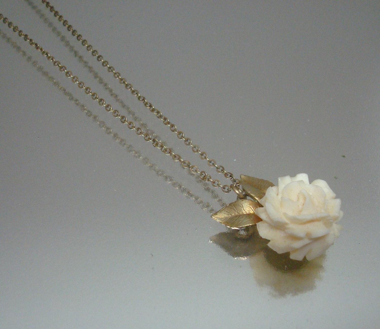 Krementz Carved Ivory Rose Necklace Vintage