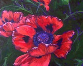 Sweet Narcosis- Original Red Poppy Floral Painting by Jennifer Greenfield