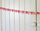 Pink fabric mini bunting spool / ribbon for wrapping packages. Party garland. Birthday cake stand bunting