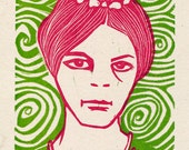 Swirly Girl hand pulled linocut relief print