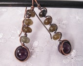 RESERVED FOR ANDREA*  Labradorite and Amethyst Copper Wire-Wrapped Earrings - Stacks