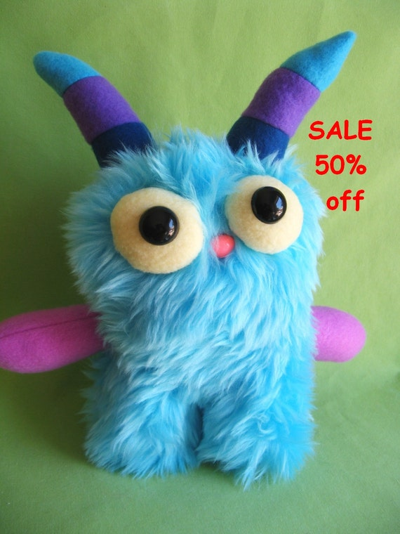 SALE 50% off Monster toy stuffed animal plush with striped horns