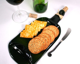 Large Dark Green Wine Bottle Flat Serving Tray with Cork and Raffia and Spreader - Recycled Eco-Friendly