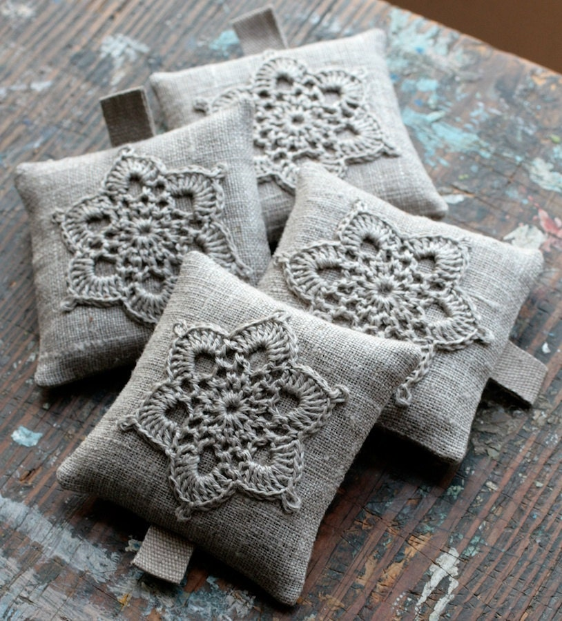 Lavender Sachets Crochet Motif Set Of 4