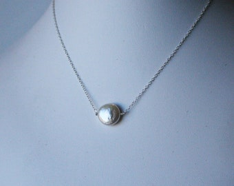 Love Necklace - Coin Pearl on Sterling Silver by JerseyGirlDesign