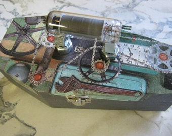Steampunk Vintage Vacuum Tube Coffin Purse