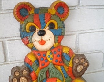Vintage Teddy Bear Colorful Patchwork Wall Hanging / Wall Art - Circa 1970s - Kitschy Retro Bear / Teddybear Kids Room / New Baby Decoration