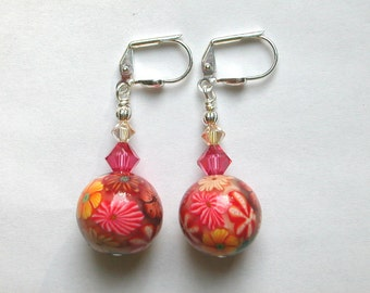 Multi Flower Earrings Polymer Clay Earrings Swarovski Crystal Silver