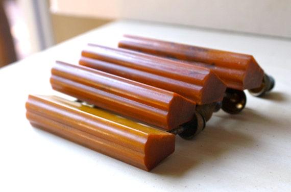 Vintage Butterscotch Bakelite Drawer Pulls, Art Deco Style Handles