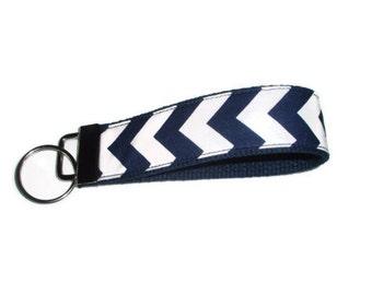 Navy Blue Chevron Wristlet Keychain