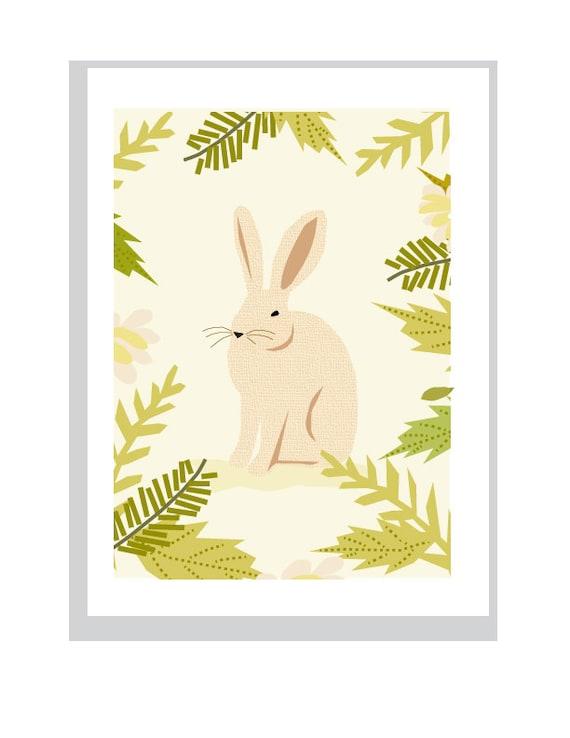 sweet bunny in ferns matted print nursery decor woodland art