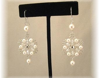 White Pearls and Clear Crystal Snowflake Chandelier Earrings, Silver Filigree Wedding Earrings, Statement Earrings, Bridal Earrings