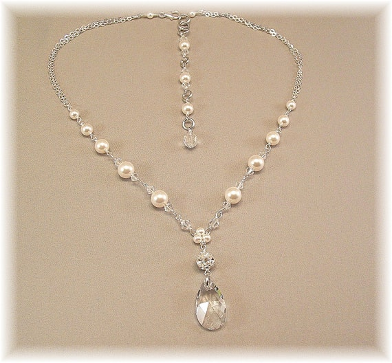 Sterling Silver, White Pearls and Swarovski Elements Rhinestone Necklace, Bridal Necklace, Wedding Jewelry, Rhinestone Jewelry