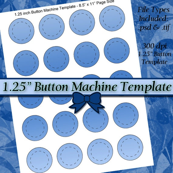 inch button machine template diy digital collage sheet. Black Bedroom Furniture Sets. Home Design Ideas