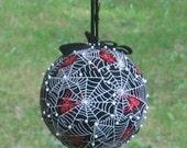 "6"" Spider Kissing Ball Unique Velvet Pomander Goth Charlottes Web, corpse bride spider web, red spider Halloween pearls glitter gothic"