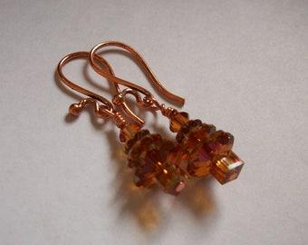 Genuine Swarovski  Crystal Tree Trees Earrings Copper Fun Metal