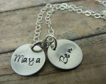 Mommy necklace-Handstamped-personalized-sterling silver necklace- name necklace-two discs