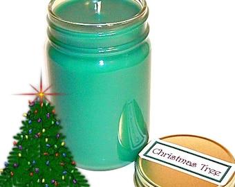 Christmas Tree Mason Jar Candle Pine Scent 12 Oz Holiday