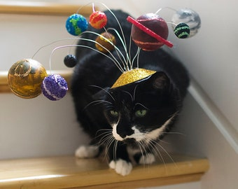 Cats Are Center of the Universe/ Solar System Cat Fascinator/ Planetary Kitty Hat