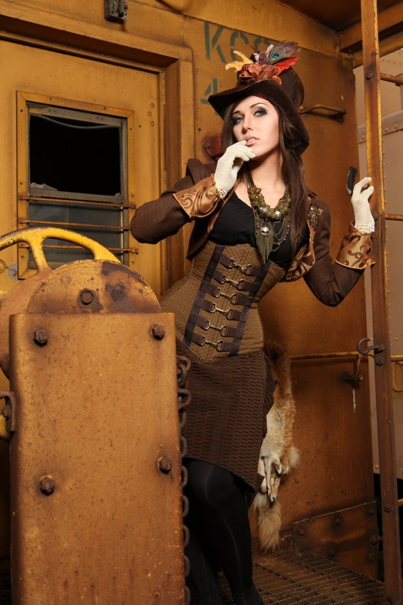 Size Small-Med Brown Steampunk Ringleader Cropped Jacket