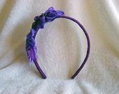 Ribbon Headband, Floral Headband, Purple Grosgrain Ribbon Headband NEW