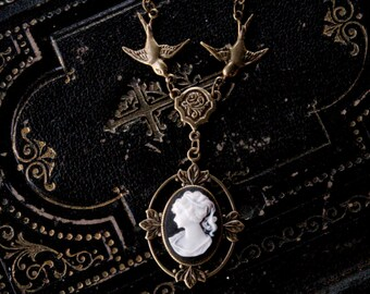 Victorian Lady Cameo Necklace- Brass and Black