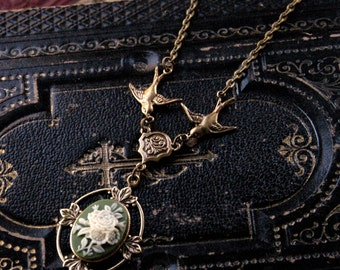 Victorian Flower Cameo Necklace- Brass and Green