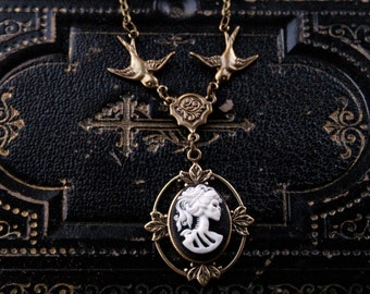 Skeleton Lady Cameo Necklace- Brass and Black