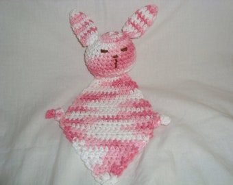 Easter bunny rabbit blankie buddy - pink and white natural cotton baby toy