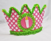 Polka Dot Birthday Crown with Candle- Party Hat- Pink and Green