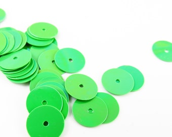 Gutermann Premium 8mm Flat Round Sequins - Green 10- grams - 8410